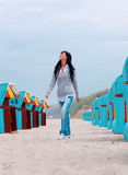 Carefree lonely baltic sea woman Stock Photo