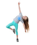 Carefree long-haired girl dancing, isolated Royalty Free Stock Photography