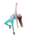 Carefree long-haired girl dancing, isolated Royalty Free Stock Photos