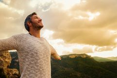 Carefree male. With outstretched arms royalty free stock photos