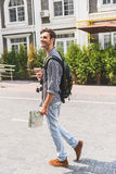 Carefree male tourist traveling in town Stock Photos