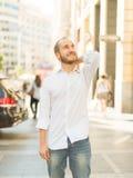 Carefree man on the city. Carefree man walking downtown Madrid Stock Photos