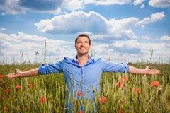 Success. Carefree man outdoors enjoying success Stock Images