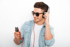 Carefree music lover. Stock Photo