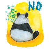 Carefree Panda Bear eating Bamboo with a NO Attitude vector illustration