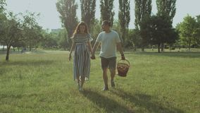 Carefree pregnant couple walking in park at sunset. Excited attractive pregnant couple in love holding hands and going on romantic picnic at sunset. Carefree stock footage