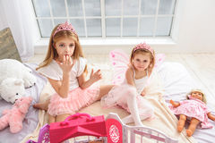 Carefree princesses eating tasty food Royalty Free Stock Photo