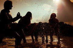 Carefree summer - friends in silhouette Stock Image