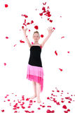 Carefree Teen Throwing Rose Petal Into The Air Stock Photos