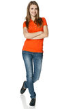 Carefree teenage girl in full length. Happy and carefree teenage girl in full length isolated on white background Royalty Free Stock Images