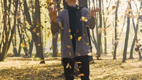 Carefree teenager throws yellow leaves in the air, positive emotions, happiness. Stock footage stock video
