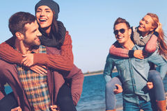 Carefree time with friends. Stock Images