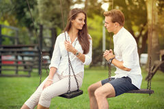 Carefree time. Lovers enjoying carefree time together Stock Images