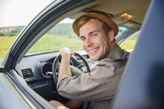 Carefree traveler driving personal transport Stock Photography
