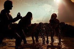 carefree vänner silhouette sommar Fotografering för Bildbyråer