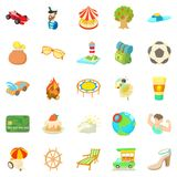 Carefree vacation icons set, cartoon style. Carefree vacation icons set. Cartoon set of 25 carefree vacation vector icons for web isolated on white background Stock Photography