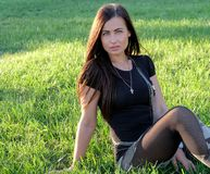Carefree vitality freedom girl  in grass Royalty Free Stock Photography