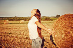 Carefree Woman in field Stock Photos