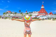 Tourist woman San Diego Beach royalty free stock image