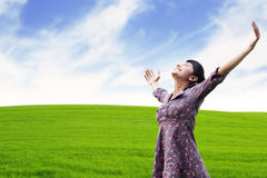 Carefree woman at the meadow stock photos