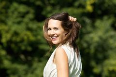 Carefree woman with smiling face Stock Images