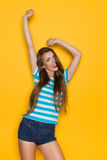Carefree Woman In Striped Shirt Royalty Free Stock Photo