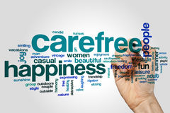 Carefree word cloud concept on grey background.  Royalty Free Stock Images