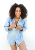 Carefree young black woman laughing Royalty Free Stock Image