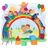 Carefree young children playing on the rainbow. Illustration of a carefree young children playing on the rainbow Stock Photo