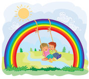 Carefree young children swinging on the rainbow. Illustration of a carefree young children swinging on the rainbow Royalty Free Stock Photos