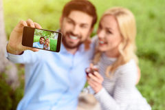 Carefree young man and woman in nature Stock Photography