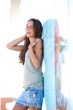 Carefree young woman standing outside Royalty Free Stock Images