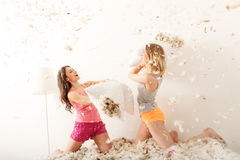 Carefree young women making pajama party Royalty Free Stock Images