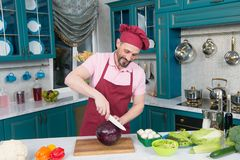 Careful chef smiling while cutting cabbage for a salad royalty free stock image
