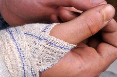 Close-up hand with a bandage stock image