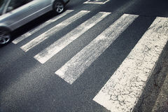 Careful pedestrian road crossing Stock Photos