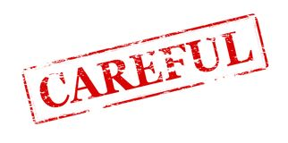 Careful. Rubber stamp with word careful inside,  illustration Royalty Free Stock Images