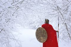 Careful spartan in cold snowy forest. Royalty Free Stock Image