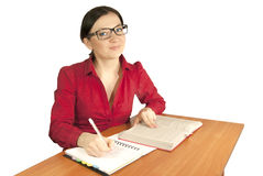 Careful validation of lessons. Accountant may or may or teacher librarian or a business woman Stock Photos