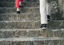 Careful walk up the stairs Stock Images