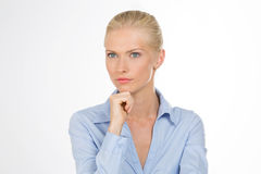 Careful woman on closeup Royalty Free Stock Images