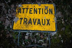 Careful, work in progress in french. Careful, work in progress attention travaux project management lifecycle timing royalty free stock image