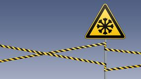 Carefully cold. Warning sign safety. pillar with sign and warning bands. Vector illustrations Stock Photography