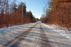 Carefully winter traffic on traces stock image