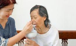Caregiver που ταΐζει τους ηλικιωμένους γονείς στοκ εικόνα
