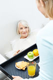 Caregiver bringing breakfast to senior woman Royalty Free Stock Photo