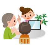 Caregiver described in tablet PC Royalty Free Stock Images