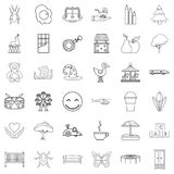 Caregiver icons set, outline style. Caregiver icons set. Outline set of 36 caregiver vector icons for web isolated on white background Royalty Free Stock Image