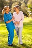 Caregiver senior woman royalty free stock photography