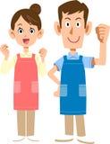 Caregivers wearing aprons, or Nursery school teachers vector illustration